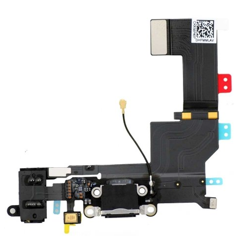 Dock Connector Charging Port Headphone Flex Replacement for iPhone 5S Black