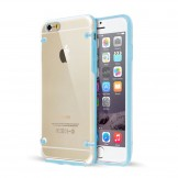 Clear Hard Back Silicone TPU Bumper Cover Case for iPhone 6 Plus Blue