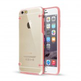 Clear Hard Back Silicone TPU Bumper Cover Case for iPhone 6 Plus Pink